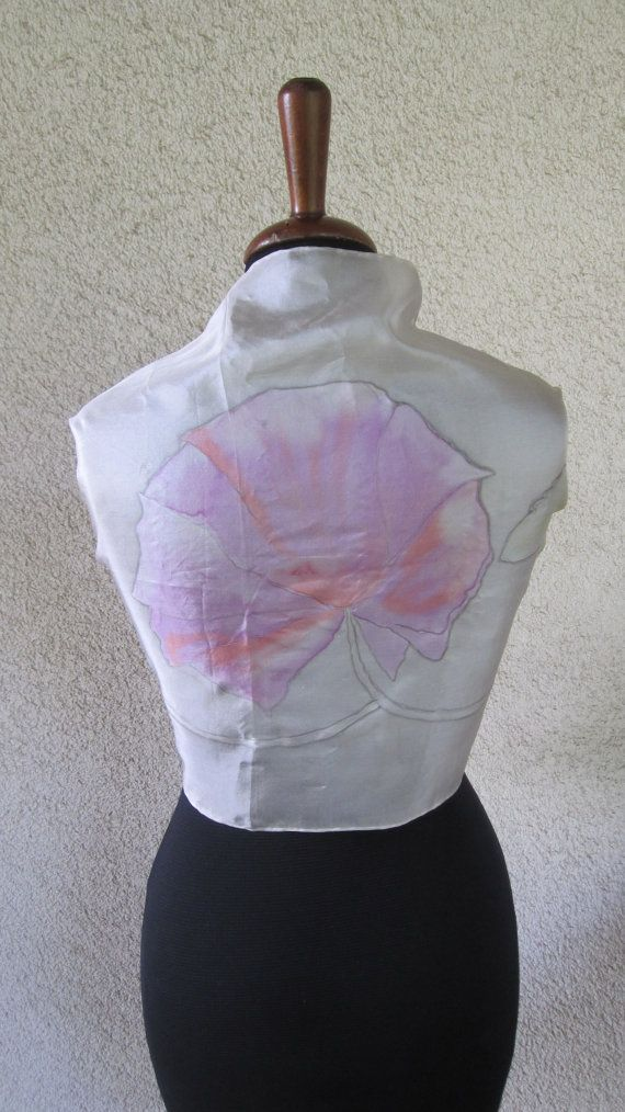 scarf or shawl in silk  pure handpainted with by ventodiscirocco, $83.00