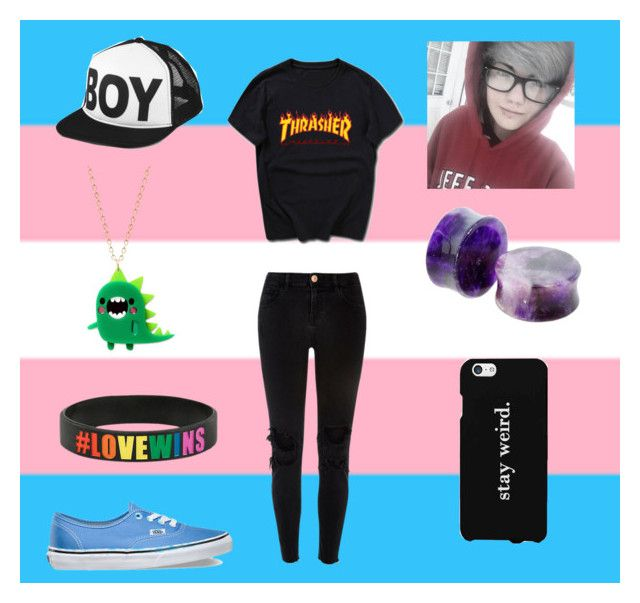 """""""ftm transgender pride"""" by ftm-easton ❤ liked on Polyvore featuring BOY London, LG, Vans and River Island"""
