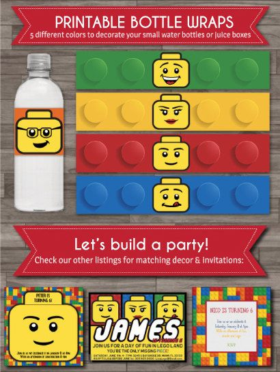 Hey, I found this really awesome Etsy listing at https://www.etsy.com/listing/189866711/printable-bottle-wraps-lego-party-bottle