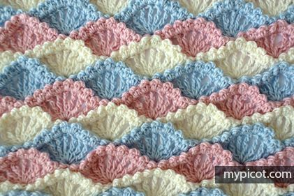 Crochet Textured Shell stitch: Diagram + step by step instructions - free pattern