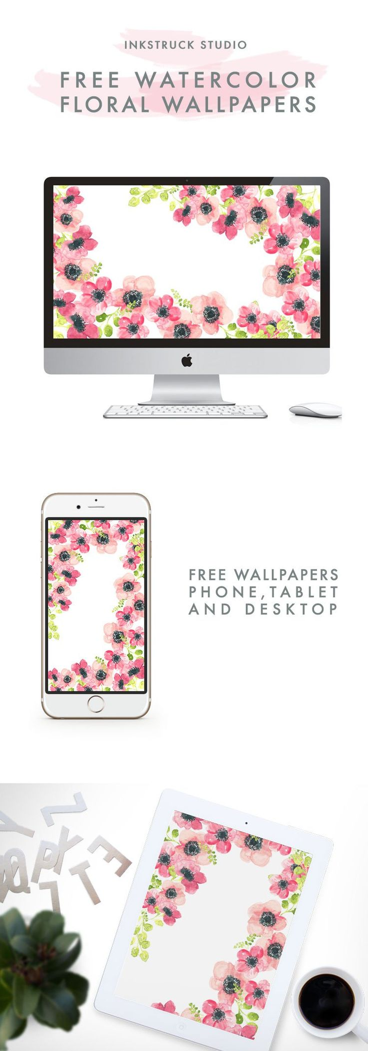WATERCOLOR FLORAL WALLPAPERS - Inkstruck Studio
