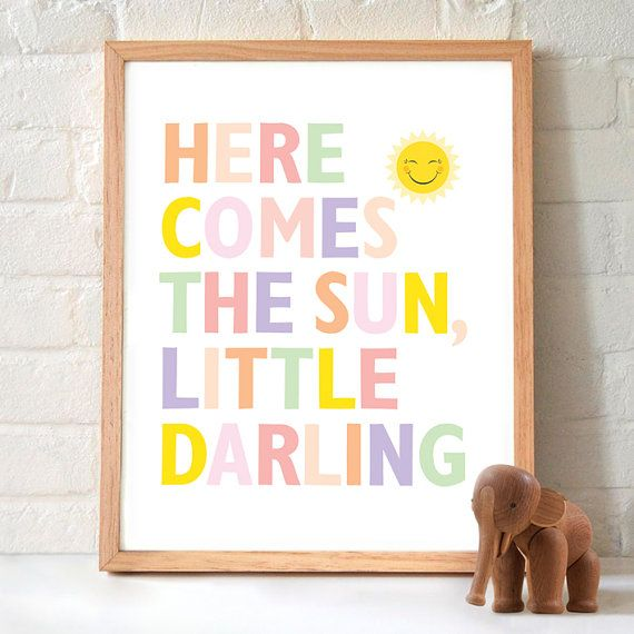 Here comes the sun Nursery Print by EvietheElephant on Etsy