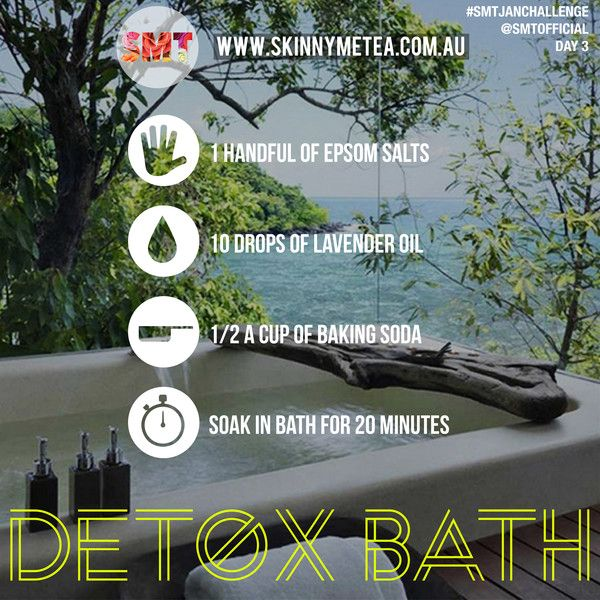 """#SMTJANCHALLENGE Day 3 // Task 3: Have A Detox Bath Instructions: Yesterday we learnt aboutthe way in which timing your water intake can maximise its effectiveness on your body. Today is about introducing the concept of a 'Detox Bath': """"Today for 20 minutes, sit in a hot bath that contains a handful of Epsom salts, 10 drops of lavender essential oil and half a cup of baking soda. This combo draws out toxins, lowers stress-related hormones, and balances your pH"""" - Dr Mark Hyman, M.D."""