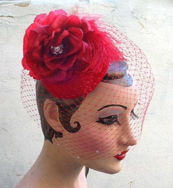 Love The Red Veiling Birdcage Veilswomen Hatsmint