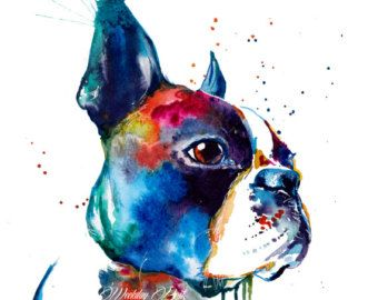 Boston terrier art original painting watercolor dog art by ValrArt