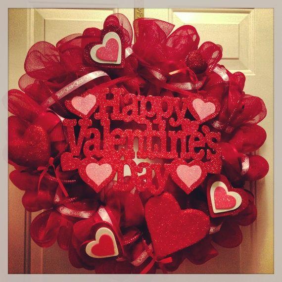 Valentines Deco Mesh Wreath Wreaths Pinterest Wreaths