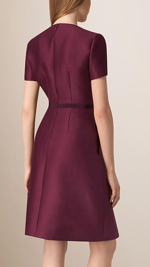 Deep plum Sculptural Cotton Silk Dress - Image 2
