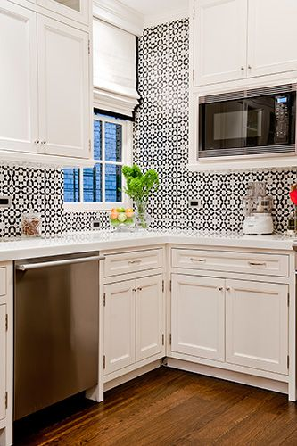 black and white wallpaper in the kitchen