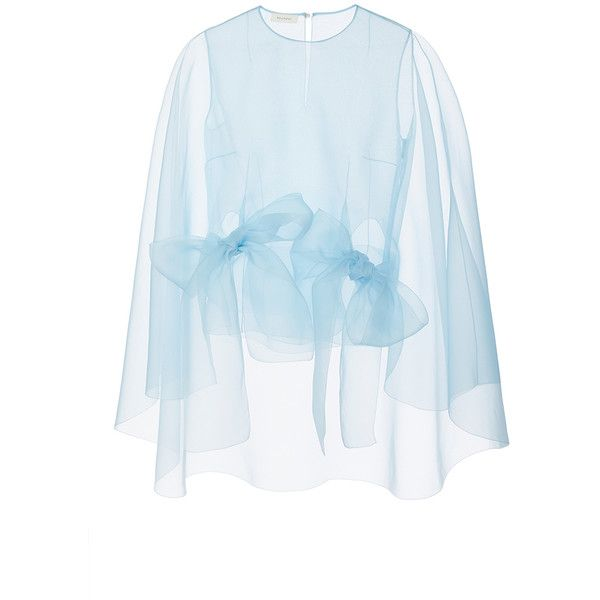 DELPOZO Organza Cape Top ($1,850) ❤ liked on Polyvore featuring tops, bow top, organza top, blue top, keyhole top and butterfly sleeve top