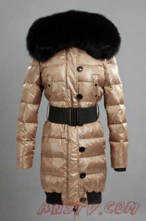 de nouveaux styles venant Moncler Femmes Pop Star Down Manteau Big Collar  Noir Sand c549b1b0f0e