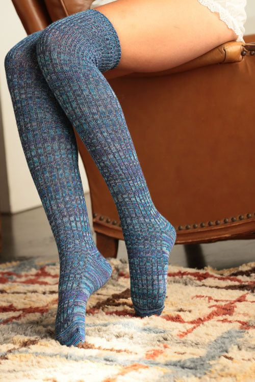 Over The Knee Marled Texture Multi-Color Socks!