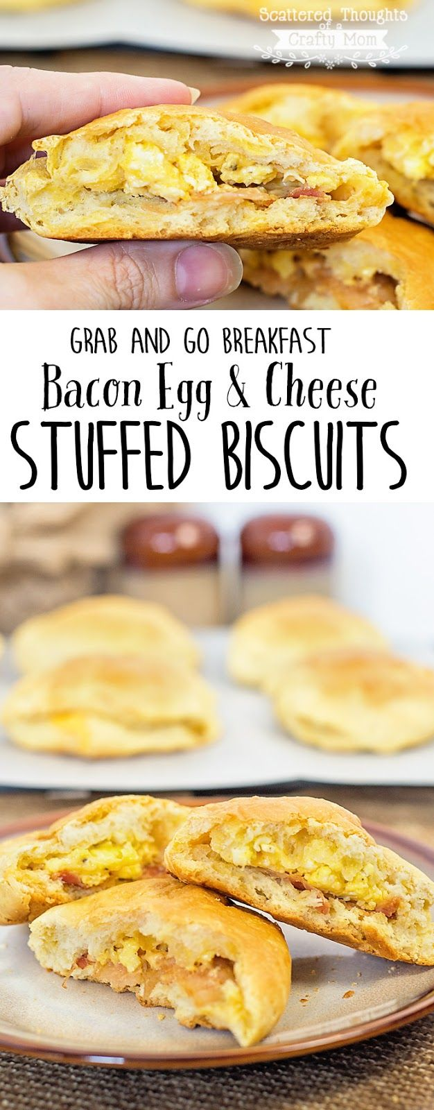 "These Bacon, Egg and Cheese Stuffed Biscuits are prepared ahead of time so you can just ""grab and go"" for a hot breakfast when rushing out the door! The kids love them and you will love how easy they are to put together! #warmtraditions #ad"