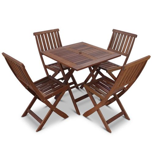 A Sturdy Outdoor Table 75cm X 75cm And 4 Chairs Made From Shorea Hardwood.  Very