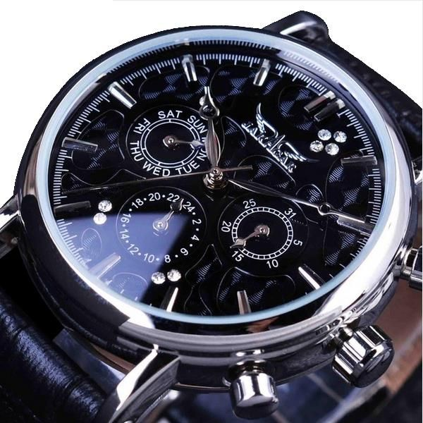 JARAGAR F120545 Fashion Automatic Mechanical Watch Multifunction Leather Strap Men Wrist Watch at Banggood