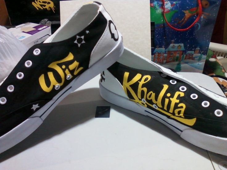 Canvas Wiz Khalifa shoes  Made to order fully by Upteepaintings, $65.00