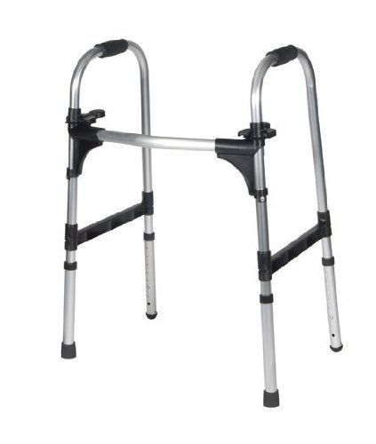 "DRIVE Deluxe Push Palm Release Ultra Lightweight Folding Walker with 5"" Wheels by Drive Medical. $61.97. 10293. Adult, Deluxe Push Pam Release Ultra Lightweight Folding Walker with 5"" Wheels. QTY: 1. The unique, Push-Palm Release makes it easy to open and close the walker from a seated or standing position. The release mechanism pops up with an audible ""click"" that ensures the side frame is completely opened. Weighs only 5.14 lbs. Manufactured utilizing a unique process tha..."