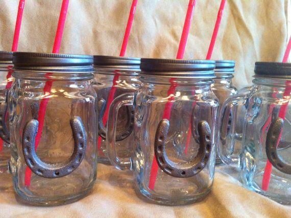 Set of 12 Country Western Mason Jars by HoneyBeeGlassAndGift, $120.00