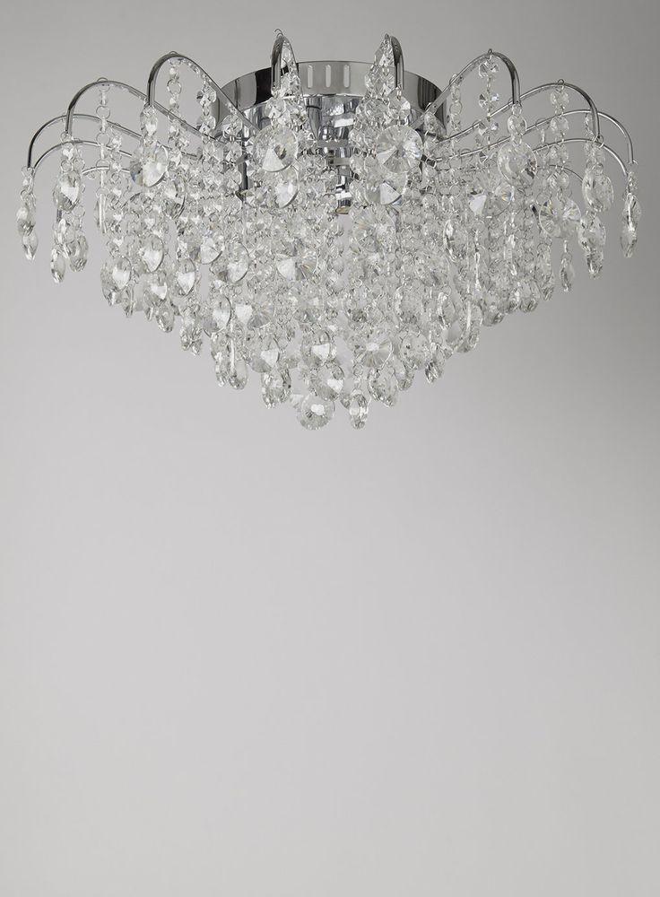 Bedroom Ceiling Lights Bhs : Chrome large angelina flush fitting ceiling light bhs