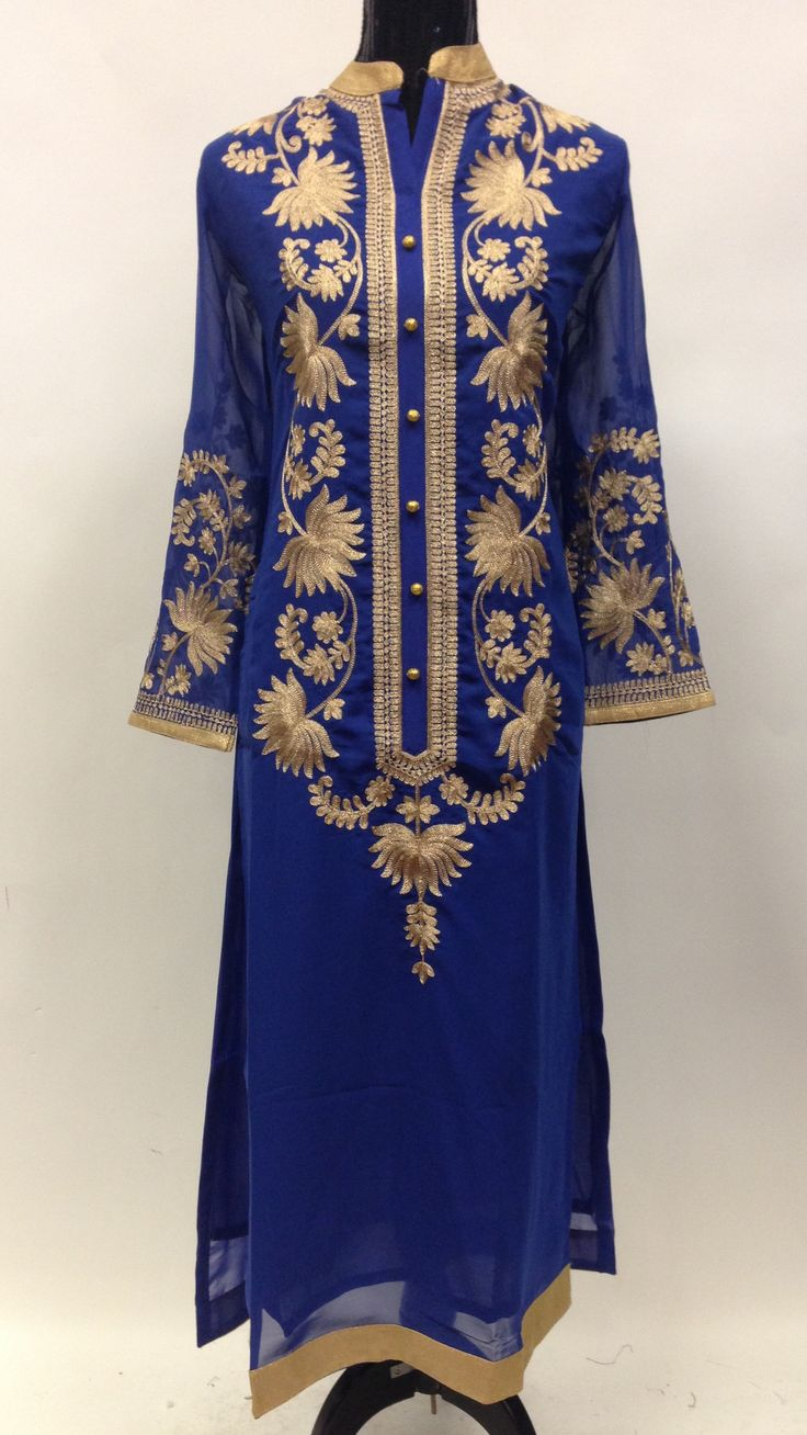 Georgette Long Kurta with Embroidery - Blue
