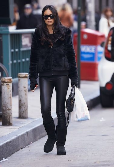Adriana Lima look, Uggs -- The all in black look.
