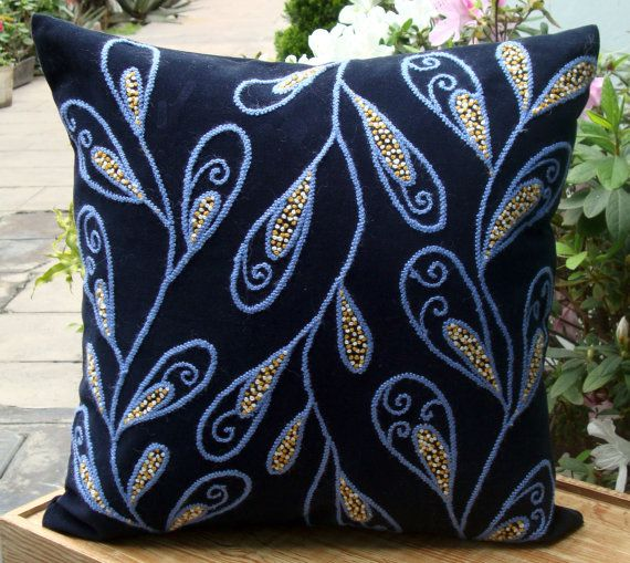 Hand Embroidered Blue Pillow by DubrasenHome on Etsy