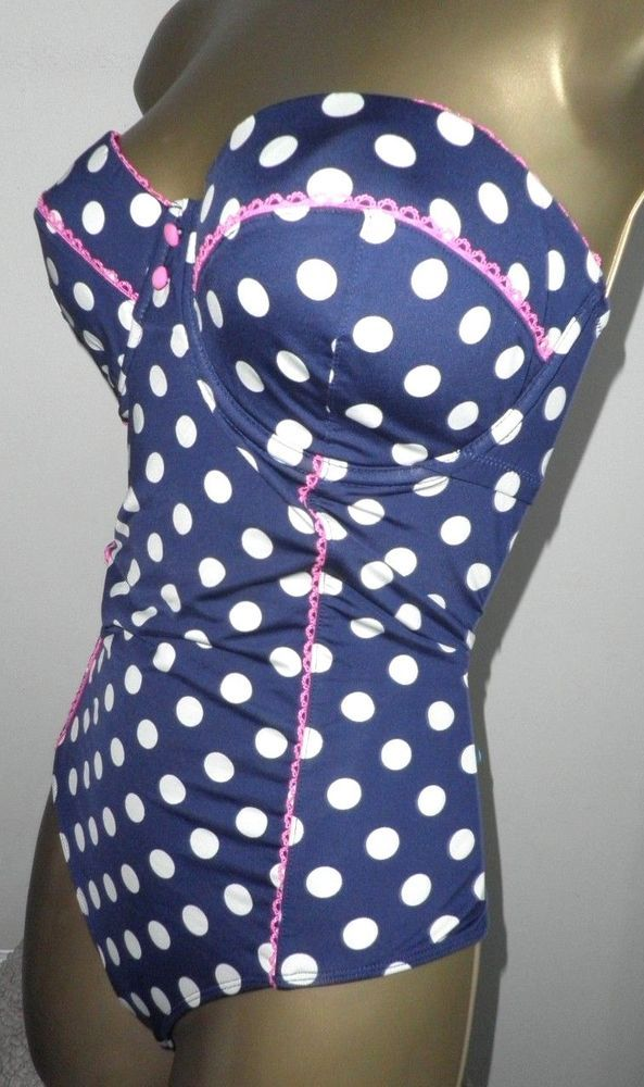d89c4eb9f6c58 SEXY LADIES MATALAN BLUE MIX PADDED UNDERWIRED STRAPLESS SWIMSUIT SIZE 38C   fashion  clothing
