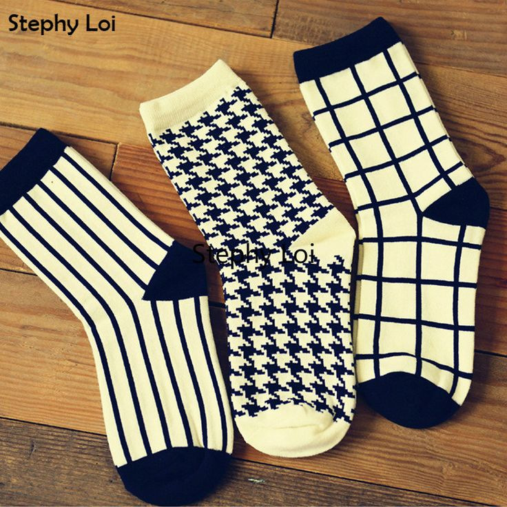 Cheap socks 100% cotton, Buy Quality cotton liner socks directly from China sock insole Suppliers: 1 Pair Caramella Cotton Women Crew Socks of Houndstooth Plaid Striped pattern, harajuku kawaii cute casual brand  white black