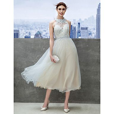 Cocktail+Party+/+Company+Party+Dress+-+Sky+Blue+A-line+Jewel+Tea-length+Lace+–+USD+$+149.99