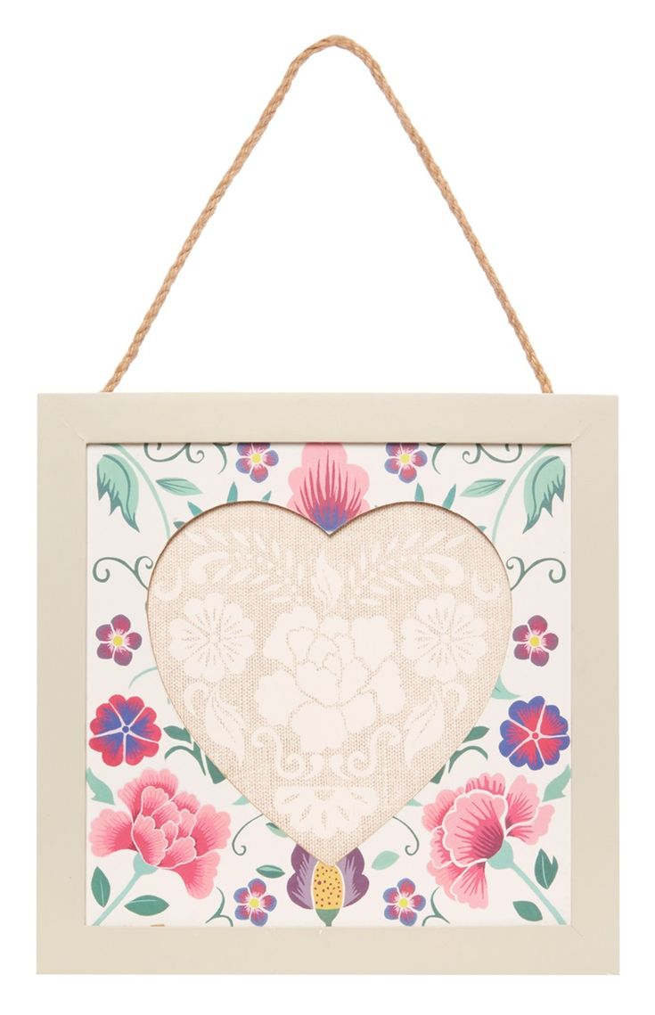 Cream Floral Hanging Heart Frame