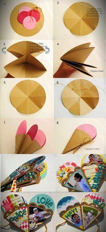 Ideas para hacer trabajos #scrapbook este #verano #Album en forma de #helado  #DIY #summer #scrapbooking #albumscrap