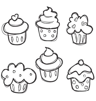 Easy to draw cupcakes for the kids. (Or those of use who are drawing challenged!)