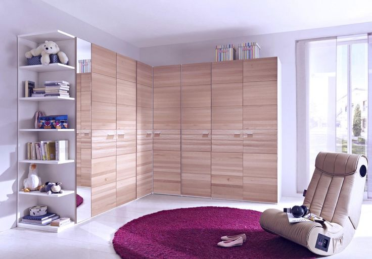Attractive White Finish Walnut Corner Bookshelves Built In Large L Shape Wooden Wardrobe Also Brown Leather Lounge Chair On Round Purple Rugs, Inexpensive Scandinavian Bookshelves With Charmingly Design: Furniture, Interior