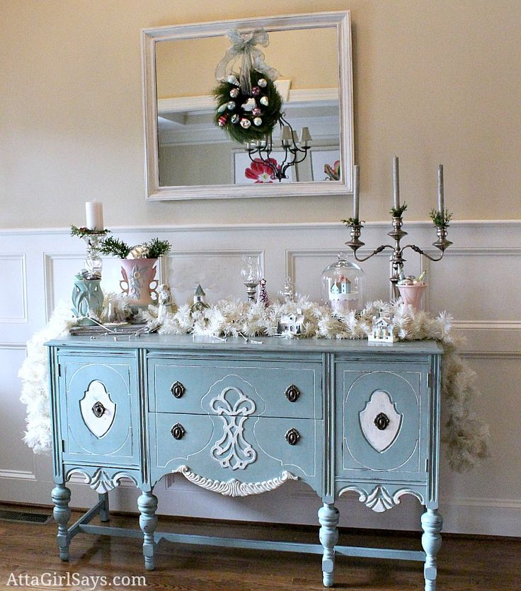 Christmas House Tour 2012 Vintage And Pastel Foyer Little White Lies Buffet ServerDining