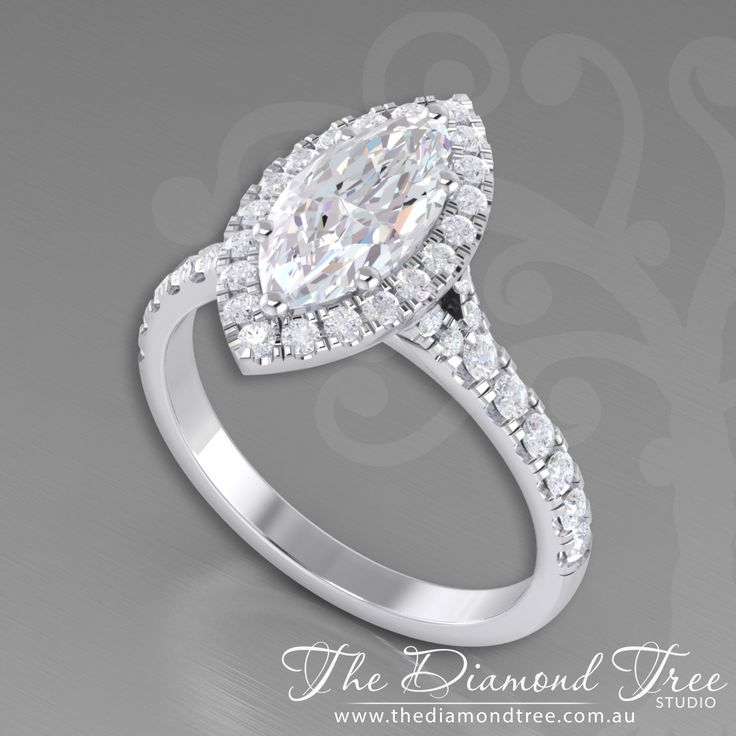 Marquise Halo Ring with A split shank made with Diamonds and White gold by https://www.facebook.com/diamondtree.finejewellery/ @thediamondtree
