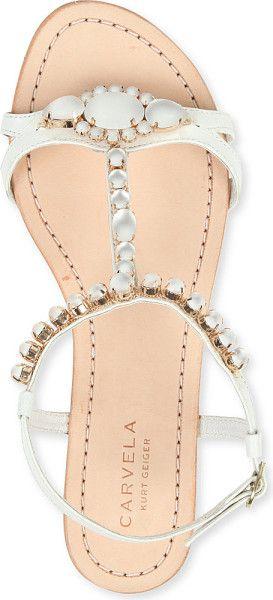 Carvela Kurt Geiger Koko Embellished Leather Sandals in White