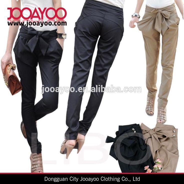 Vrouwen skinny broek toevallige ol lange boog- knoop mode slanke comfortabele broek