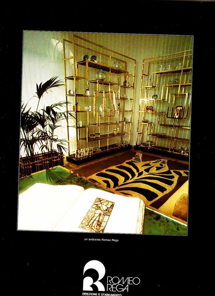 Monumental geometric form etagere by Romeo Rega,1975, published in Casa Vogue