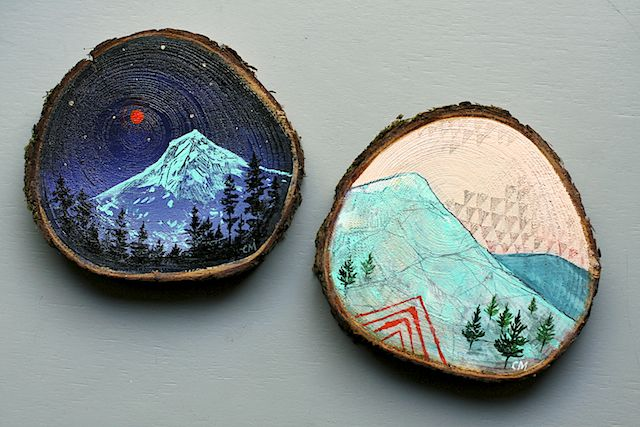 Cedar Wood Slice Paintings by Cathy McMurray.