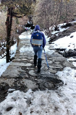 Snow Trek from Chopta to Tungnath in Uttrakhand, India.