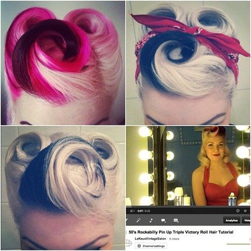 Perfect Triple Victory Rolls  http://www.youtube.com/watch?v=_DO29zJ869I