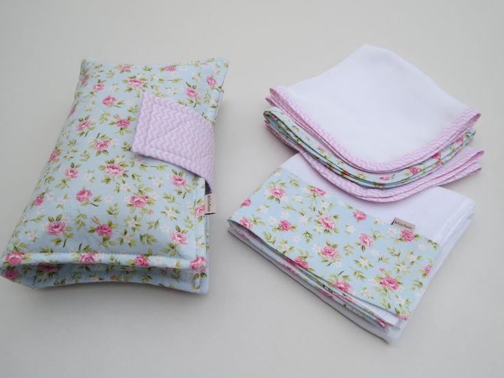 Conjunto infantil contendo 3 fraldas de boca, 1 fralda de ombro grande, 01 porta fralda descartável, lenço umedecido e creme de assadura.  Consulte mostruário de estampas