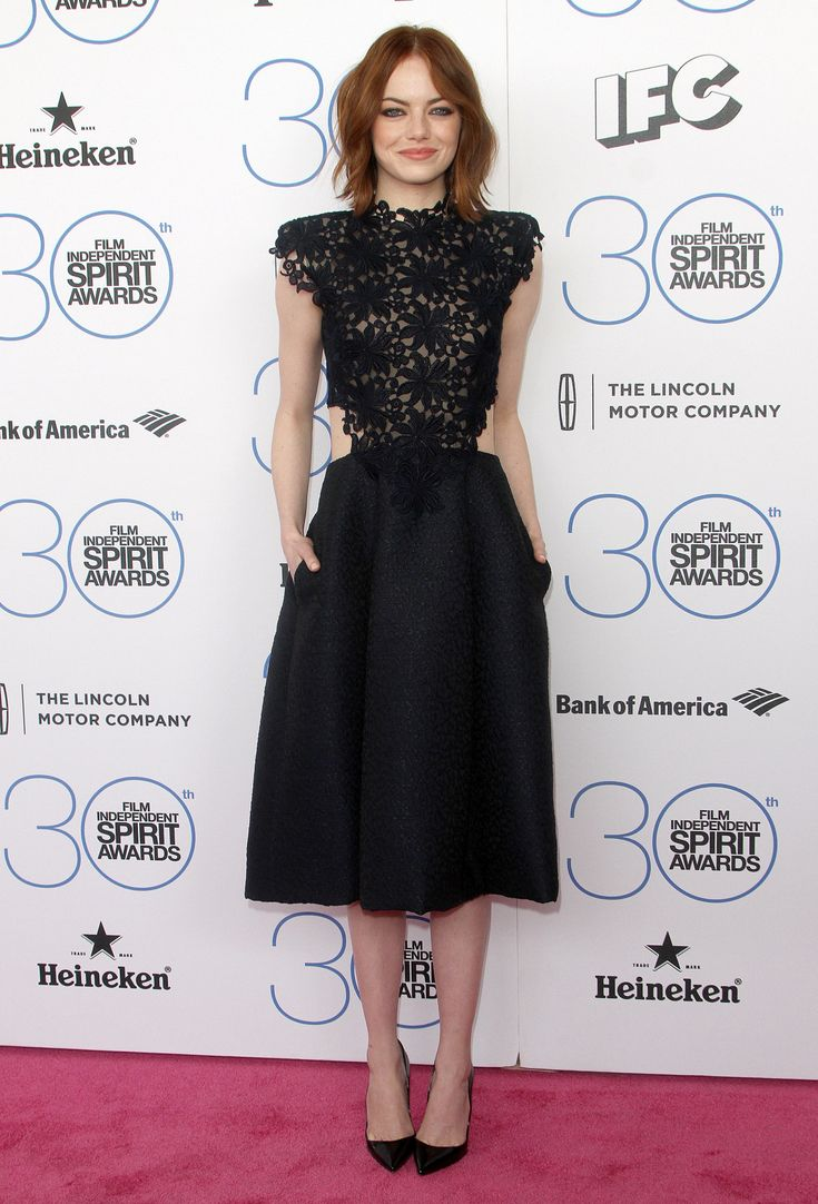 Emma Stone in Monique Lhuillier at the Spirit Awards