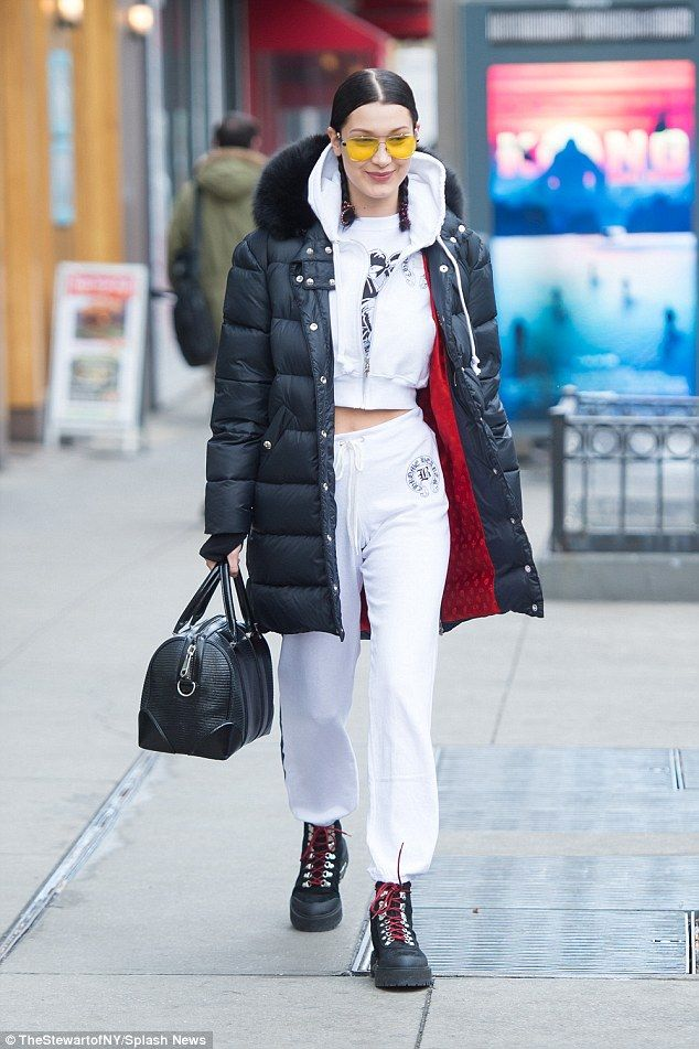 Keep it casual in white joggers like Bella Hadid #DailyMail Click 'Visit' to buy now