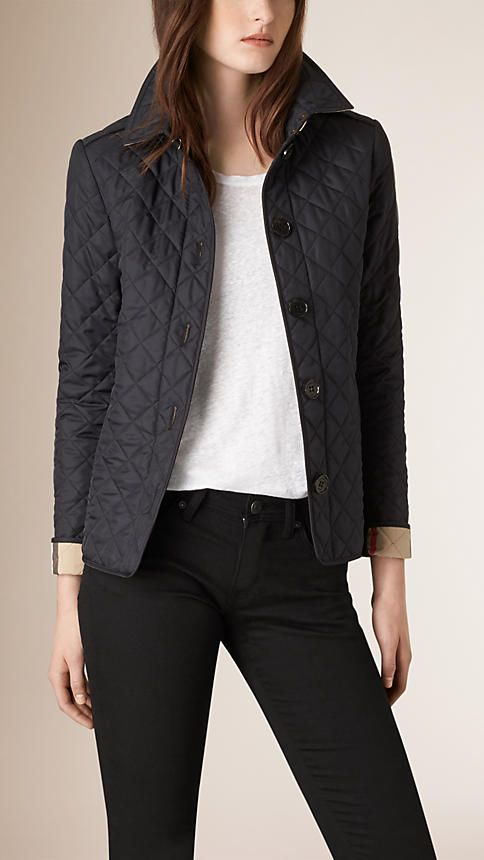 Navy Diamond Quilted Jacket Navy - Image 3