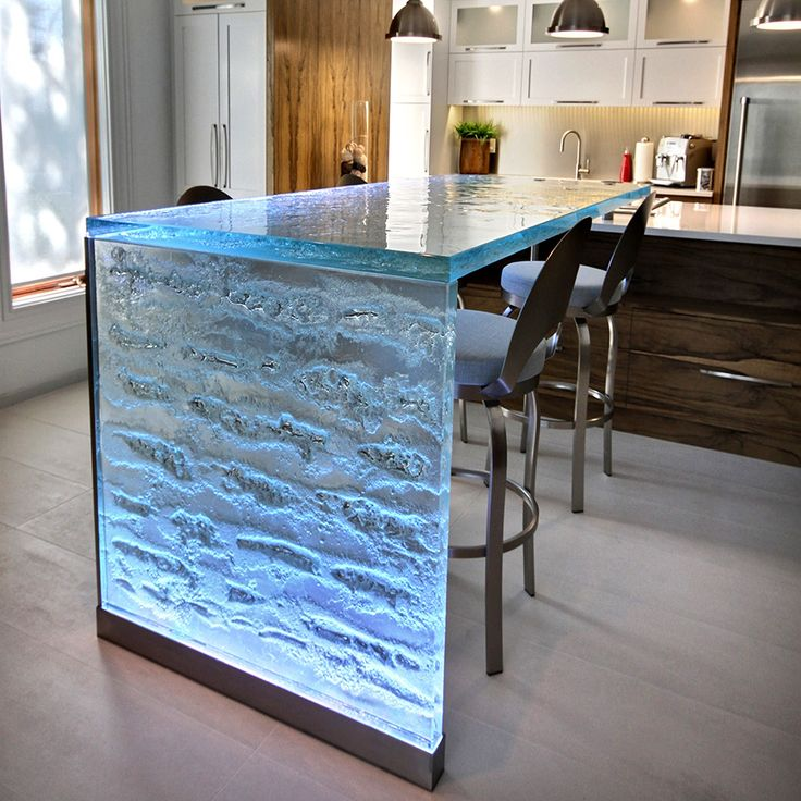 17 best images about unique glass bar and raised top on for Glass waterfall design