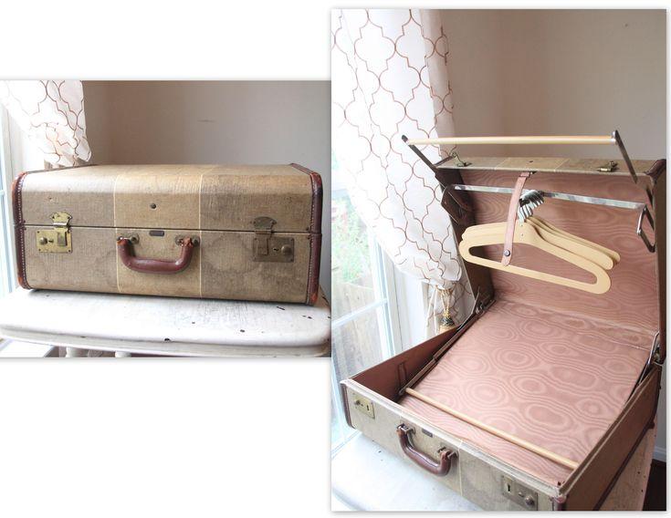 Mendel Cincinnati Tweed Luggage, Vintage Suitcase with Hangers, Carry On, Hand Held Luggage, Room Decor, Storage, Hardside Luggage/Suitcase by WeeklyTreasureHunt on Etsy https://www.etsy.com/listing/514170738/mendel-cincinnati-tweed-luggage-vintage