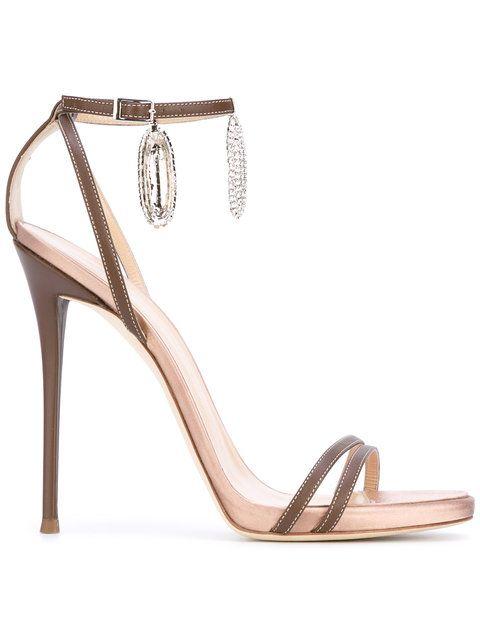 Shop Giuseppe Zanotti Design ankle charm sandals.