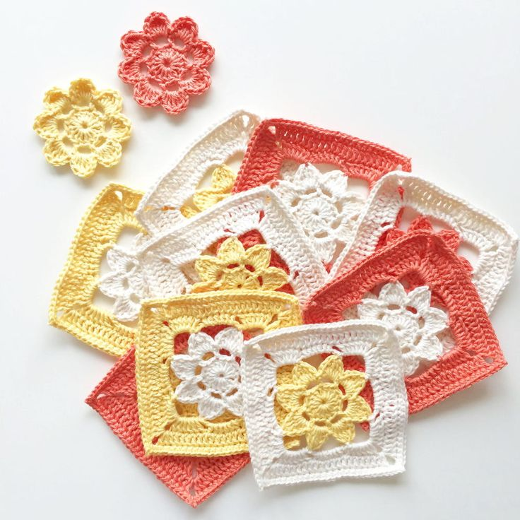Join these pretty crochet flower squares together to make a crochet blanket or even a cute crochet shawl.