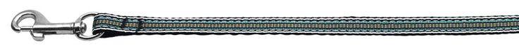 Nylon Dog Leash - Preppy Stripes in Light Blue & Khaki