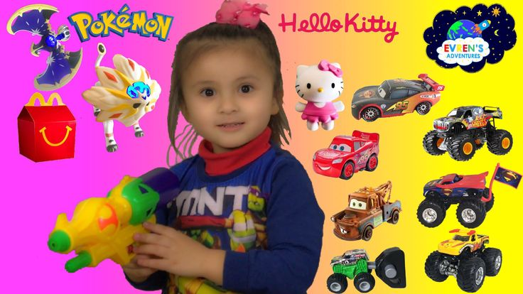 2017 Pokemon Sun and Moon Hello Kitty MC DONALDS Happy Meal Toys Surprise Disney Cars 3 Monster Jam Kid Fun Games with Evren Adventures ToysReview. Sun and Pokémon Moon toys and Hello Kitty Toys. Evren have Pokemon Sun Solgaleo and Pokemon Moon Lunala, and Hello Kitty Kerokerokeroppi tea cup and Hello Kitty Whisk.  This video will also feature Disney Cars 3 Toys like Lightning McQueen Toys and Tow Mater Toys, Disney cars 2 Lightning McQueen carbon fibre die cast car and Hot Wheels Monster…